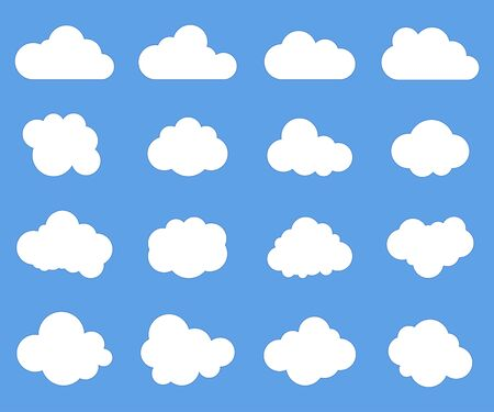 Cloud signs, Sky symbols. Blue background. Vector illustration 일러스트