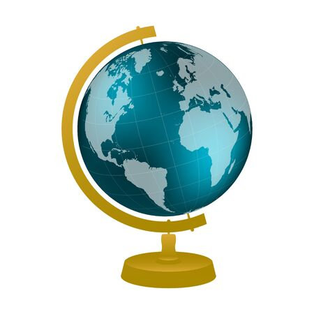 Desktop globe with wood stand on white background. Color vector illustration Illusztráció