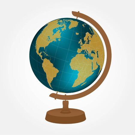 Desktop globe with wood stand on white background. Color vector illustration Иллюстрация