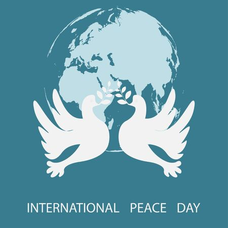 International Day of Peace. 21 September. World Peace Day greeting card. Vector illustration