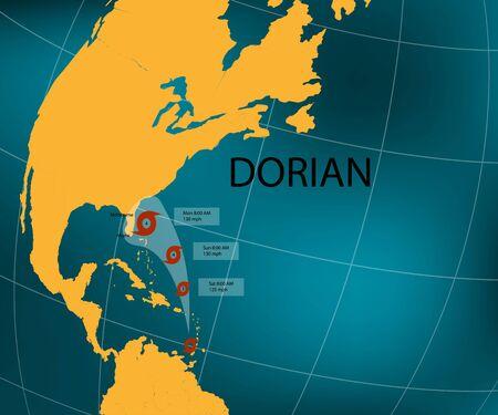 Hurricane Dorian. Florida's east coast. World map. Vector illustration Фото со стока - 129466248