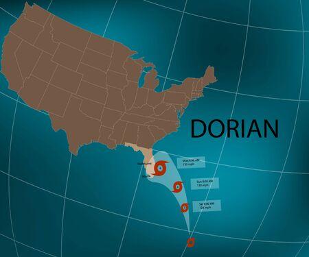 Hurricane Dorian. Florida's east coast. World map. Vector illustration Фото со стока - 129466229