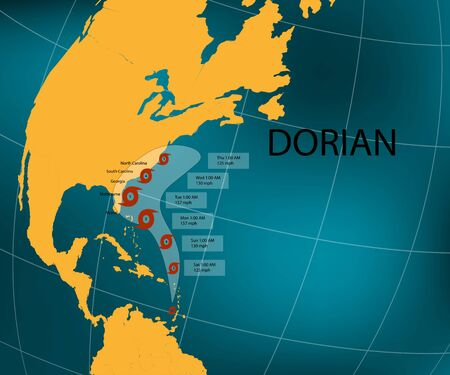 Hurricane Dorian. Floridas east coast. World map. Vector illustration