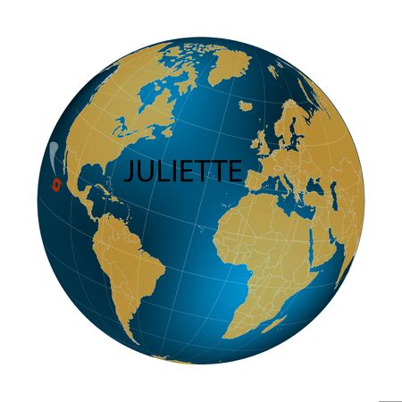 Hurricane Juliette. Territory of America. Pacific hurricane season 2019. World map. Vector illustration