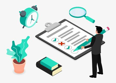 Businessman completes a sheet of paper by pencil. Isometric projection. Modern style in green color. Vector illustration