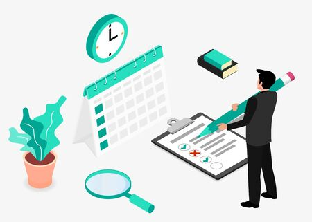 Businessman completes a checklist. Business Planning. Isometric projection. Modern style in green color. Vector illustration