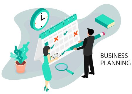 Businessman completes a calendar. Business Planning. Isometric projection. Modern style in green color. Vector illustration Ilustrace