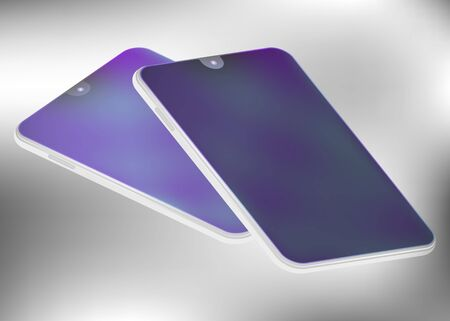 Mobile phone in isometric projection. Touch screen. World technology. Vector illustration