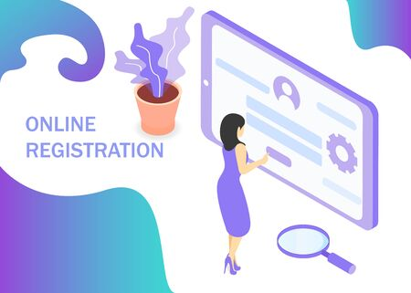Online registration in purple colors. Registration form in internet. Use for web banner, infographics, reports. Isometric projection. Vector illustration Ilustrace