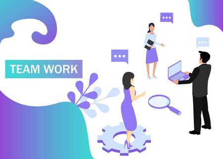 Teamwork concept in violet colors. Use for web banner, infographics, strategies. Isometric projection. Vector illustration