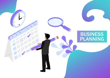Businessman completes a calendar. Business Planning. Isometric projection. Modern style in violet color. Vector illustration