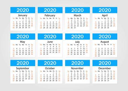 Calendar 2020. Tear-off calendar. Personal organizer. White background. Vector illustration Ilustración de vector