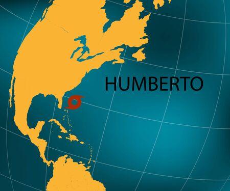 Hurricane Humberto toward Bermuda. World map.