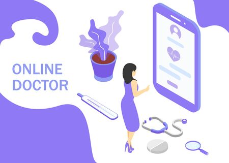 Doctor online concept. Isometric projection. Modern style in purple color. Vector illustration. EPS 10
