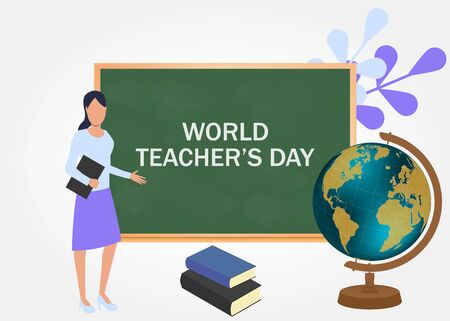 World Teachers Day. International holiday. Greeting card.
