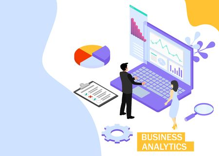 Business Analytics concept. Business finance and industry. Isometric projection. Zdjęcie Seryjne - 132553263