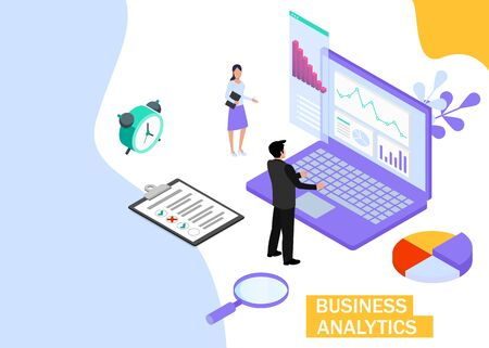 Business Analytics concept. Business finance and industry. Isometric projection. Zdjęcie Seryjne - 132553261