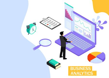 Business Analytics concept. Business finance and industry. Isometric projection. Zdjęcie Seryjne - 132553262