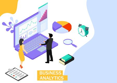 Business Analytics concept. Business finance and industry. Isometric projection. Zdjęcie Seryjne - 132553264