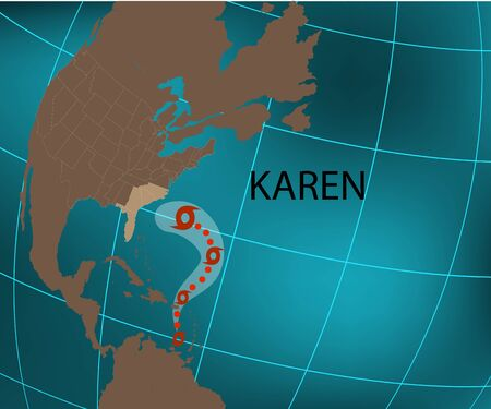 Hurricane Karen toward USA. World map. Illustration