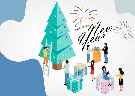 Merry Christmas and Happy New Year. 2020. Happy holidays. Vector illustration. EPS 10