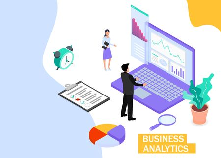 Business Analytics concept. Business finance and industry. Isometric projection. Zdjęcie Seryjne - 132553272