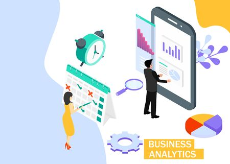 Business Analytics concept. Business finance and industry. Isometric projection.