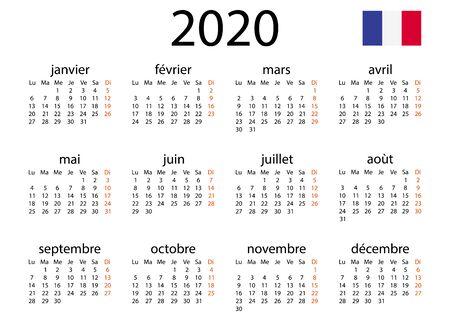 Calendar 2020 in French language. Tear-off calendar. Personal organizer. White background. Vector illustration. EPS 10 일러스트