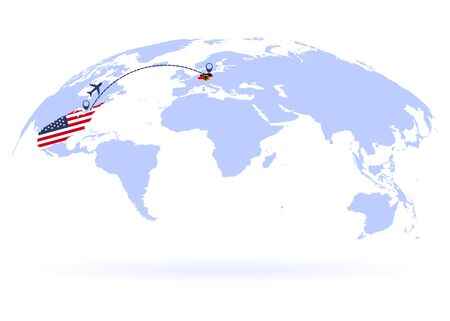 Flight from USA to Germany above world map. Airplane arrives to Germany. The world map. Airplane line path. Vector illustration. EPS 10 Ilustrace
