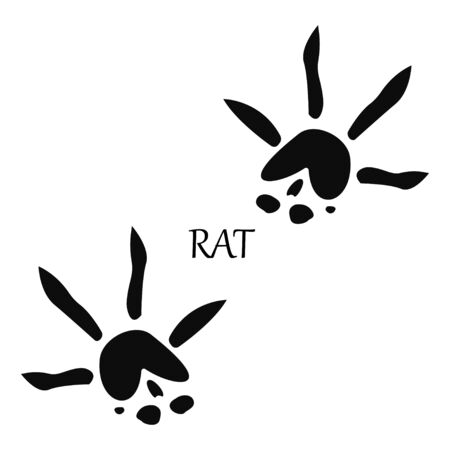 Rat paw print. Footprint silhouette on white background. Vector illustration. EPS 10