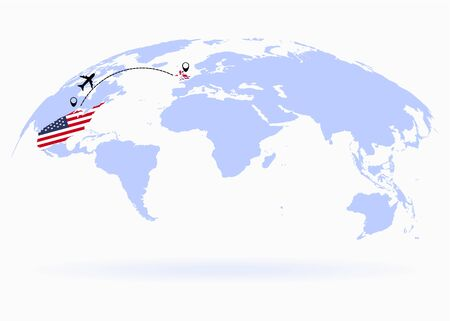 Flight from USA to England above world map. Airplane arrives to England. The world map. Airplane line path. Vector illustration. EPS 10