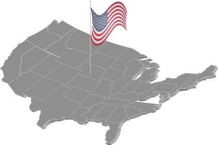 States of America territory on white background. Separate state. American flag. Vector illustration. EPS 10