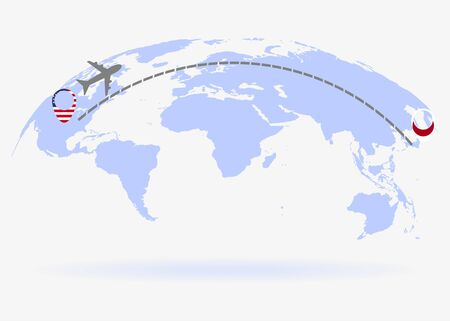 Flight from USA to Japan above world map. Airplane arrives to Japan. The world map. Airplane line path. Vector illustration. EPS 10 Stock Illustratie