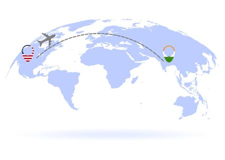Flight from USA to India above world map. Airplane arrives to India. The world map.