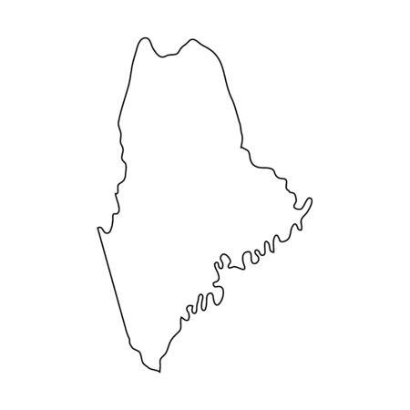 Maine - stato degli Stati Uniti. Linea di contorno in colore nero.