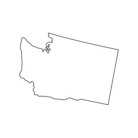 Washington - U.S. state. Contour line in black color. Ilustracja