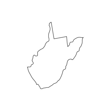 West Virginia - U.S. state. Contour line in black color. Ilustrace