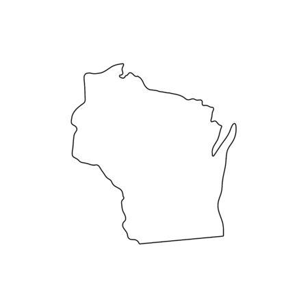 Wisconsin - U.S. state. Contour line in black color.