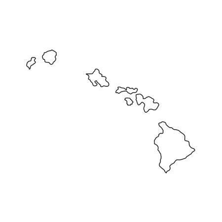 Hawaii - U.S. state. Contour line in black color. Ilustracja