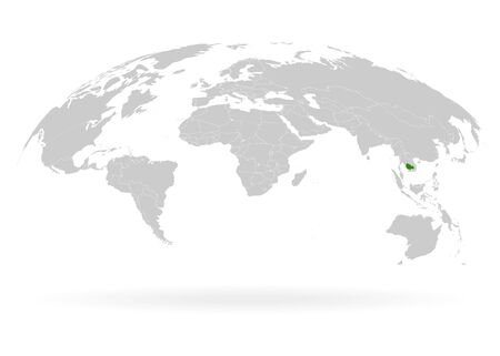 Territory of Cambodia. Planet Earth. The Earth, World Map on white background. Vector illustration. EPS 10 일러스트