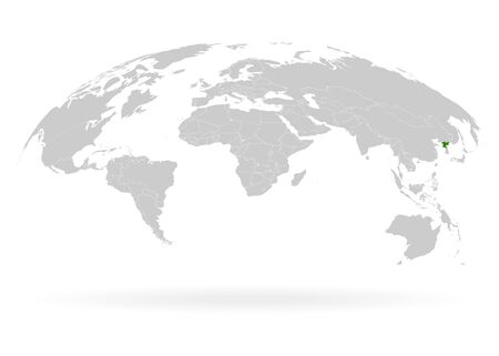 Territory of North Korea. Planet Earth. The Earth, World Map on white background. Vector illustration. EPS 10