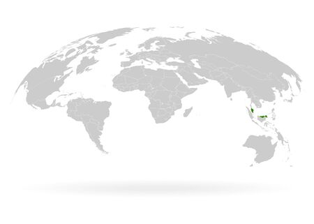 Territory of Malaysia. Planet Earth. The Earth, World Map on white background. Vector illustration. EPS 10