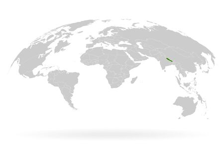 Territory of Nepal. Planet Earth. The Earth, World Map on white background. Vector illustration. EPS 10