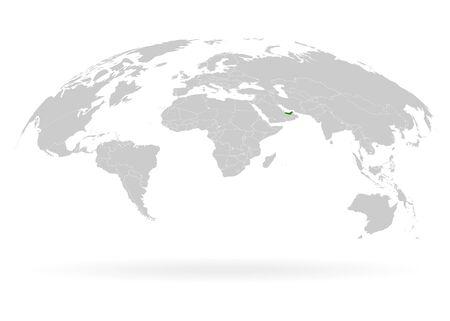 Territory of United Arab Emirates. Planet Earth. The Earth, World Map on white background. Vector illustration. EPS 10 Ilustracja