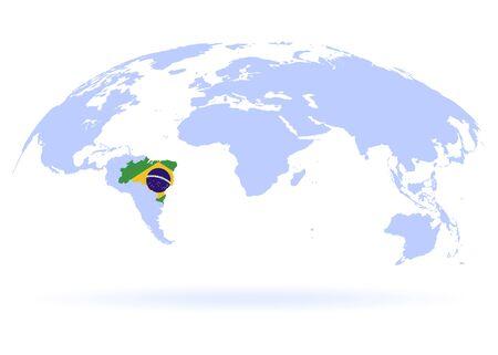 Planet Earth. Flag of Brazil. The Earth, World Map on white background. Vector illustration. EPS 10