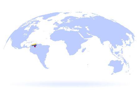Planet Earth. Flag of Venezuela. The Earth, World Map on white background. Vector illustration. EPS 10