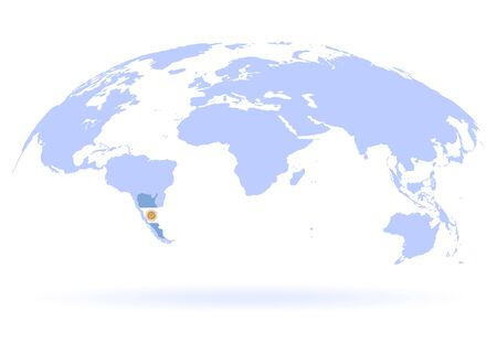 Planet Earth. Flag of Argentina. The Earth, World Map on white background. Vector illustration. EPS 10