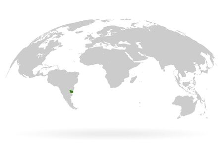 Territory of Uruguay. Planet Earth. The Earth, World Map on white background. Vector illustration. EPS 10 Ilustracja