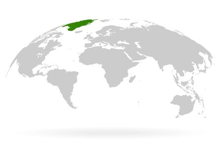 Territory of Greenland. Planet Earth. The Earth, World Map on white background. Vector illustration. EPS 10