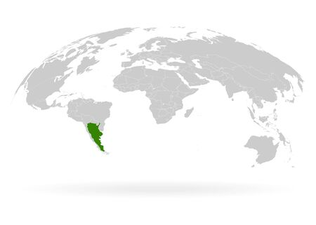 Territory of Argentina. Planet Earth. The Earth, World Map on white background. Vector illustration.